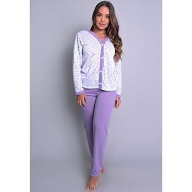 Pijamas Longo Adulto Feminino Blusa Com Botões E Calça