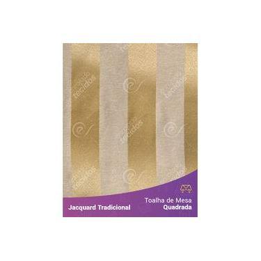 Imagem de Toalha De Mesa Quadrada Em Tecido Jacquard Dourado Listrado Tradicional