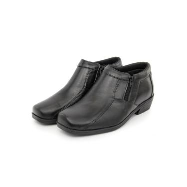 Bota Masculina Couro Lisa Bico Quadrado Br2 Footwear - Preto  menino