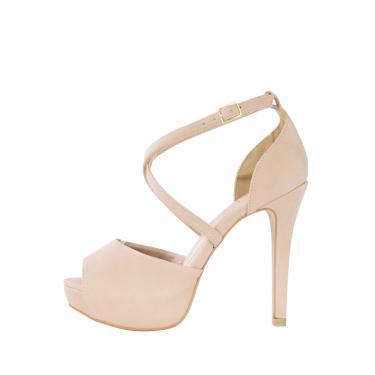 Sandália salto alto Week shoes meia pata tornozeleira x nude  feminino