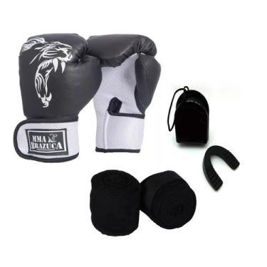 Imagem de Kit Boxe Muay Thai Luva Bandagem Bucal Brazuca - Preta 12oz - Mma Braz