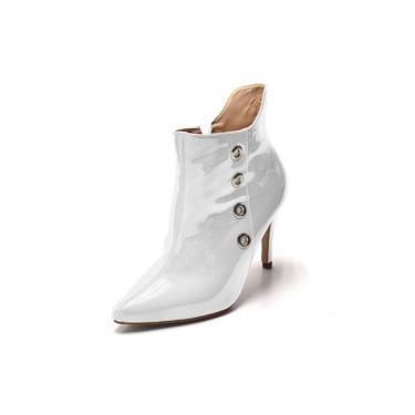 Bota Cano Curto Bico Fino Em Verniz Branco Ilhós Dourado  feminino
