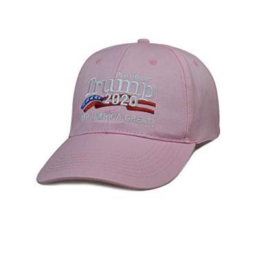 Boné de beisebol masculino e feminino Bestgift de algodão respirável EUA MAGA, rosa, tamanho �nico