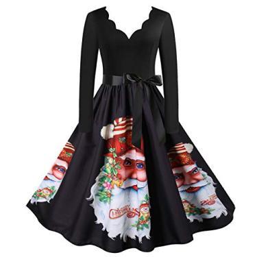 ZEFOTIM Vestido de Halloween Natal 2020, vestido feminino vintage de manga comprida anos 50 para dona de casa para festa noturna, Christmas#17, Medium