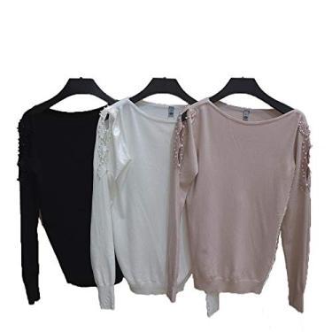 Blusa Tricot Feminino com Detalhe Perola TRFI80651 PRETO P