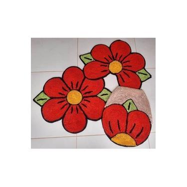 Imagem de Tapete Jogo De Banheiro Frufru 3 Peças Flor Laranja