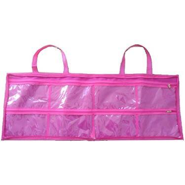 Bolsa para esmaltes maquiagens manicure cor rosa até 120 frascos