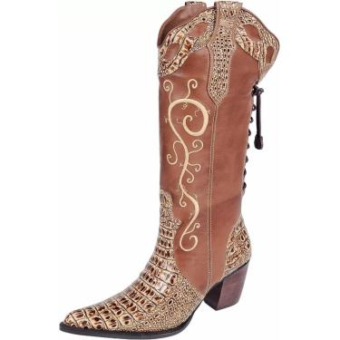 Bota Texana Capelli Boots Bordada Castor  feminino