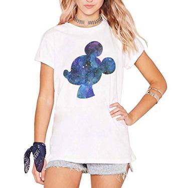 Imagem de Camiseta Mickey Galaxy Feminina (P, Rosa)