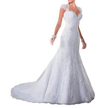 Imagem de Solandia Vestido de noiva plus size com lantejoulas e renda sereia vestidos de noiva para noiva com cauda, Branco, 24 Plus
