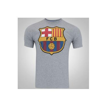 Camiseta Barcelona Brasão - Masculina - CINZA Barcelona 143458bd831d1