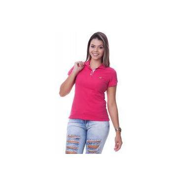 0d489600e5 Camisa Polo Feminina Lisa Rosa Pink Com Detalhe Floral na Gola - Sapocaco