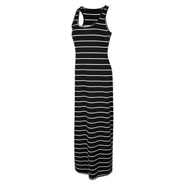 Homyl vestido longo sem mangas feminino longo, listrado, vestido de praia, cinza, preto/azul P-2GG, Black 2xl, as described