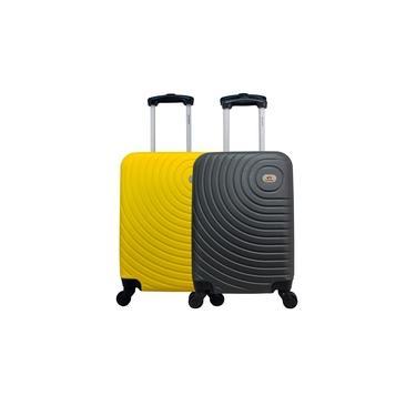 Kit Duas Malas De Bordo Rígidas 360º - Gladiador A7 - Cinza e Amarelo