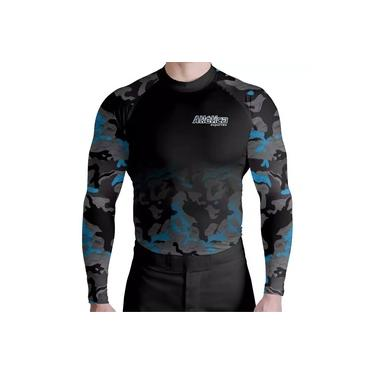 Rash Guard Térmica Camuflado Azul Atletica Esportes