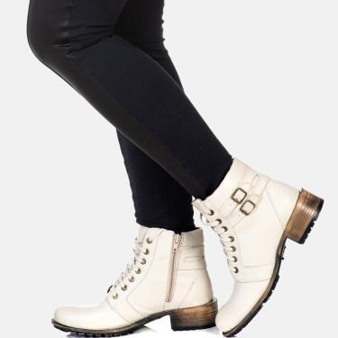 Bota Cano Curto Coturno Feminina Confort Couro Gelo  feminino