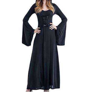 Vestido de festa medieval Steampunk com capuz e manga longa Doufine, Preto, tamanho �nico