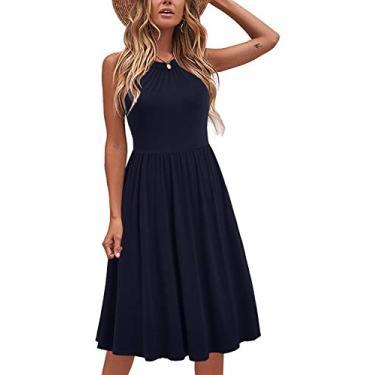 Liyinxi Vestido de verão feminino com gola em frente única de algodão, vestido casual com bolsos, Azul marinho, Large