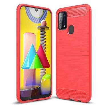 "SHUNDA Capa para Samsung Galaxy M31, TPU macio ultra fino antiderrapante à prova de choque capa protetora para celular para Samsung Galaxy M31 6,5"" - Vermelho"