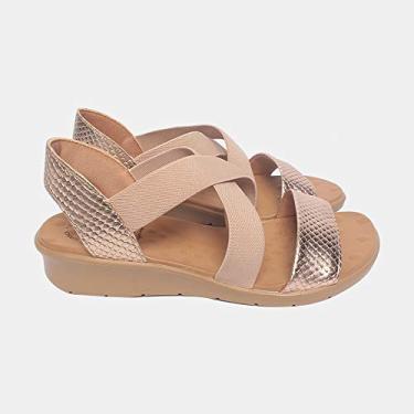 Sandália de Elástico Malu Super Comfort Cléo Feminino Cobre 34