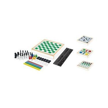 Jogo De Tabuleiro 6 Em 1 Xadrez Dama Ludo Domino Junges Made