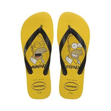 Chinelo Simpsons, Havaianas, Adulto Unissex, Amarelo Ouro, 45/46