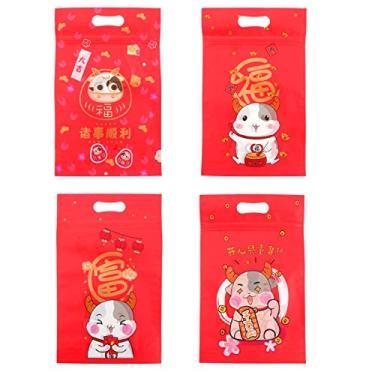 PRETYZOOM 50 bolsas de doces tema Ox Year sacos de cordão para biscoitos, lembrancinhas de festa