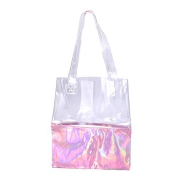 Imagem de KESYOO Bolsa feminina transparente holograma de poliuretano brilhante bolsa de ombro à prova d'água bolsa esportiva academia para compras, praia, viagens ao ar livre, rosa