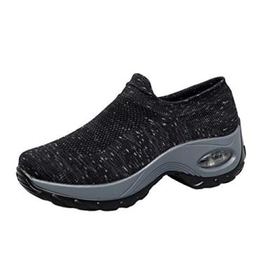 Imagem de Holibanna Tênis feminino amarelo meia feminino confortável moda calçados esportivos Air Cushion casual sapatos esportivos, Preto, cinza, 6.5
