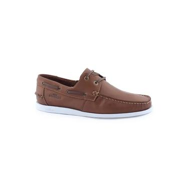 Sapato mocassim masculino 02014 Deckshoes Lace couro Samello