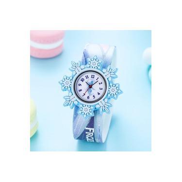 Luxo Feminina da Disney congelados Assista azul dos desenhos animados Toy Snowflake Forma Girl Veja presente de aniversário impermeável relógio de quartzo Women Watch
