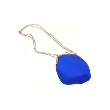 Bolsa De Silicone Vintage Azul Com Dourado Tiracolo (BL-2662-6)