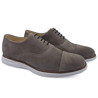 Sapato Oxford Couro Casual Masculino Cadarço Liso Confort Cinza + Branco 38