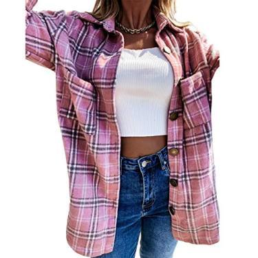 Imagem de SCEINRET Camisa xadrez feminina de flanela, de manga comprida, casual, comprimento médio, com bolsos, rosa, P