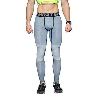 Imagem de DemoLa Calça legging masculina de secagem rápida de compressão elástica para esportes de basquete, Flecha verde, 3XG