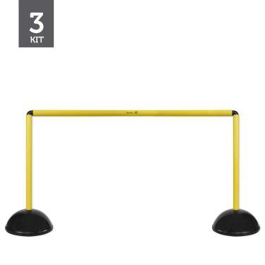 Kit Barreiras de Salto de Plástico - 47cm - 3 unidades - Preto/Amarelo - Muvin