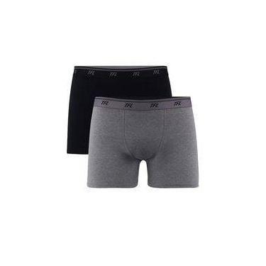 Kit Com 2 Cuecas Boxer Trifil Em Algodão Com Elastano Preto/mescla Escuro