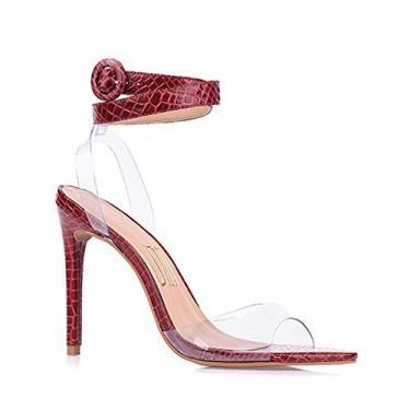 Sandália Salto Alto New Couro Scarlet Uza Shoes (36, salto alto)