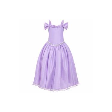 Vestido Infantil Longo Lilas Princesa Brilho Dama De Honra