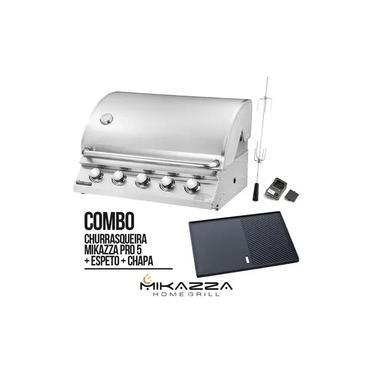 Imagem de Churrasqueira à Gás Embutir Mikazza Pro 5 Combo + Chapa + Espeto Giratório