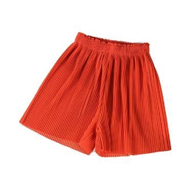 Comaba – Calcinha feminina elástica com cintura larga e cor sólida, Laranja, Medium