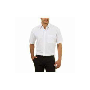 Camisa Social Masculina Bom Pano Manga Curta Lisa Branca e80b2d6081d98