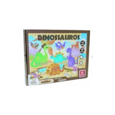 Imagem de Quebra Cabeça 48 Peças Dinossauros Madeira Gigante Ref 8498