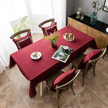 Imagem de YZT Toalha de mesa de jantar moderna minimalista à prova d'água cinto renda livro toalha de mesa retangular vermelha decoração de casamento vermelho - arroxeado, renda, 140180 cm