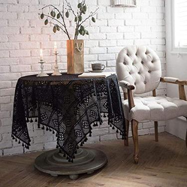 Imagem de Toalha de mesa de algodão vintage crochê macramê renda borla toalhas de mesa costura bege multitamanho retangular inodoro - 140 x 200 cm - C_60 x 60 cm