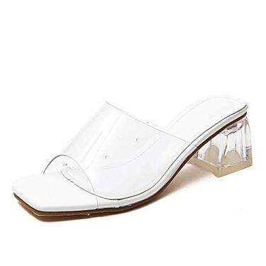 Imagem de Sandália feminina transparente de bico aberto, bloco grosso, sem cadarço, mules de salto, sapato escarpim, Branco, 7.5