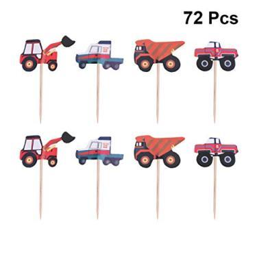Imagem de Amosfun 72 peças de confecção para carros, cupcake, topo de bolo, decoração para caminhão, engenharia, carros, palhetas de comida, para meninos, aniversários, tema de construção, decoração de festa
