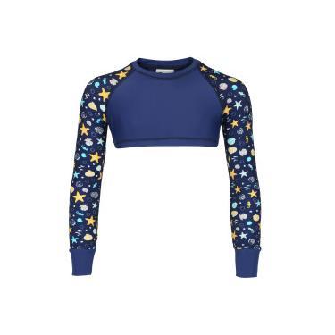 Blusa Cropped Manga Longa com Proteção Solar UV Oxer Shell - Infantil -  AZUL ESC  60ce81ec72