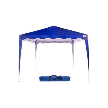 Tenda 3x3m Dobrável Sanfona Poliéster Gazebo Alumínio Praia Azul Bel Fix 330300