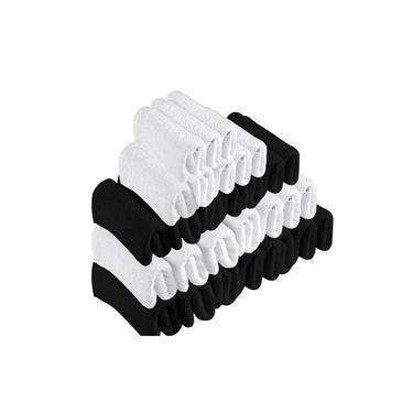 Imagem de Kit 30 Toalhas de Rosto Para Salão Beleza 100% Algodão 40 x 65 cm Branca Preta Emcompre